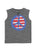 Girls Heather Charcoal Peace Sign Lace Front Graphic Tank