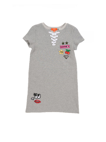 Girls Heather Grey French Terry Lace-Up Tee Dress