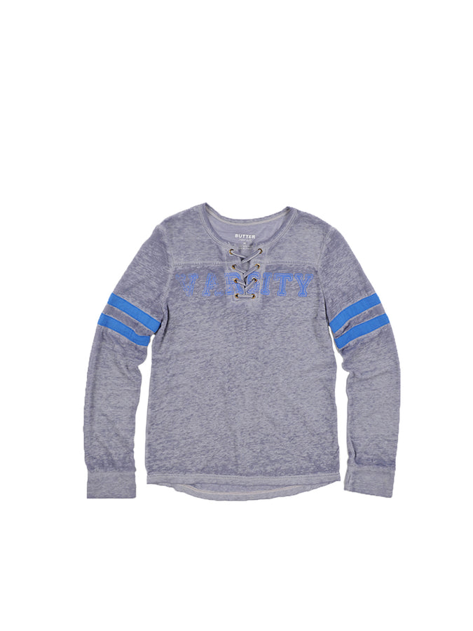 Girls Heather Grey Lace-Up Burnout Jersey Varsity Top