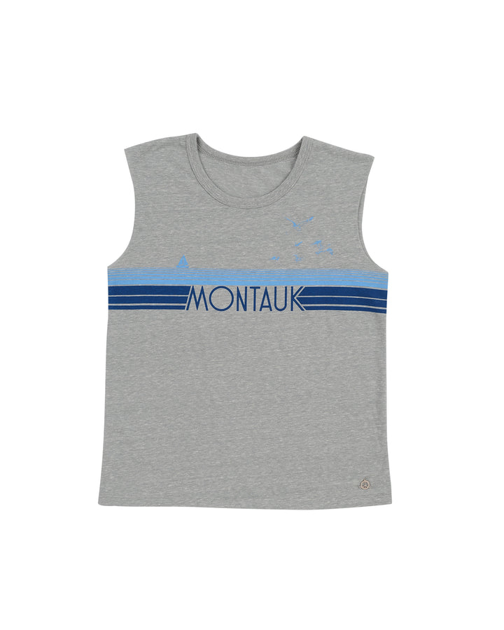Girls Heather Grey Montauk Graphic Muscle Tank