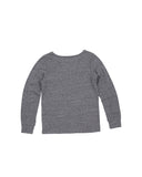 Girls Heathr Grey Fuzzy Patches Heathered Jersey Pullover 2