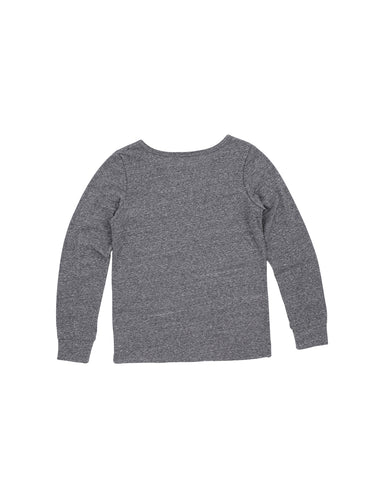 Girls Heathr Grey Fuzzy Patches Heathered Jersey Pullover 2 Alternate View