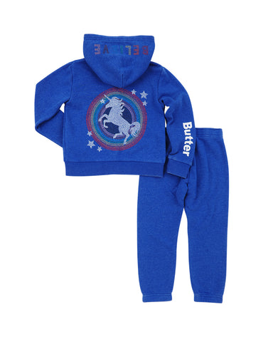 Girls Iolite Unicorn Burnout Fleece Zip Hoodie Set