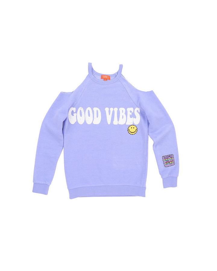 Girls Jacaranda Good Vibes Burnout Fleece Cold Shoulder Pullover