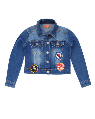 Girls Medium Denim Patches Cropped Denim Jean Jacket