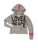 Girls Medium Heather Gray Love & Peace Terry Raw Edge Pullover W/ Taping Back Detail