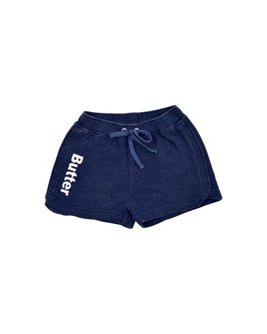 Girls Navy Mineral Wash Fleece Varsity Short