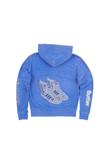 Girls Nebulas Blue Wing Sneakers Burnout Fleece Zip Hoodie