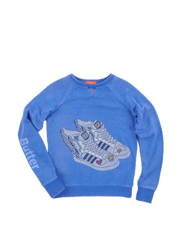 Girls Nebulas Blue Wing Sneakers Fleece Crewneck Pullover