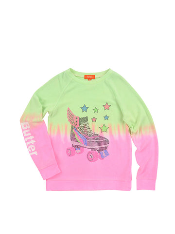 Girls Neon Green Roller Skate Dipe Dye Hampton Fleece Raglan