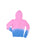 Girls Neon Pink/Blue Girls Solid Dip Dye Fleece Zip Hoodie