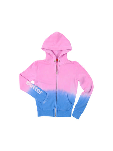 Girls Neon Pink/Blue Girls Solid Dip Dye Fleece Zip Hoodie 4 Alternate View