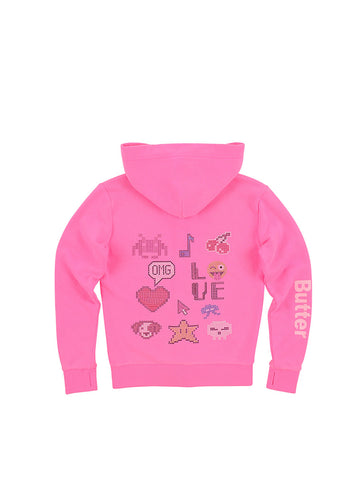 Girls Neon Pink Pixels Garment Dye Fleece Zip Hoodie
