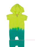 Girls Neon Yellow/Atlantis Dip Dye Fleece Jumper 2