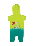 Girls Neon Yellow/Atlantis Dip Dye Fleece Jumper