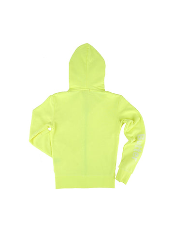 Girls Neon Yellow Solid Burnout Hoodie