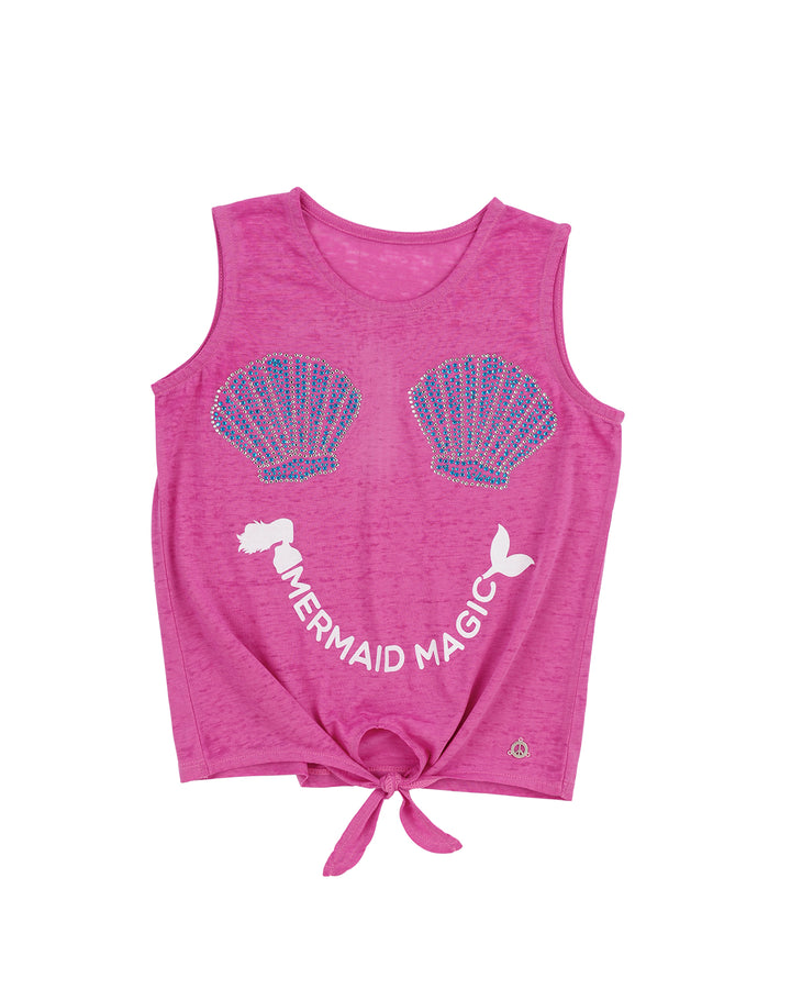 Girls Paradise Pink Mermaid Magic Tie Front Graphic Tank
