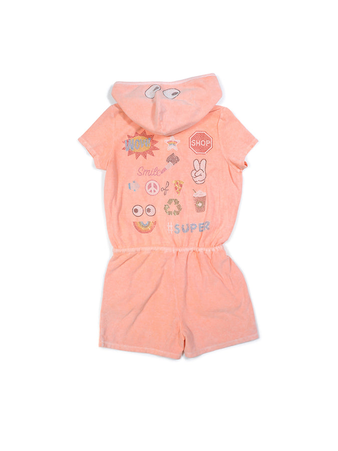 Girls Peach Nectar Collage Glitter Print Mineral Wash Romper