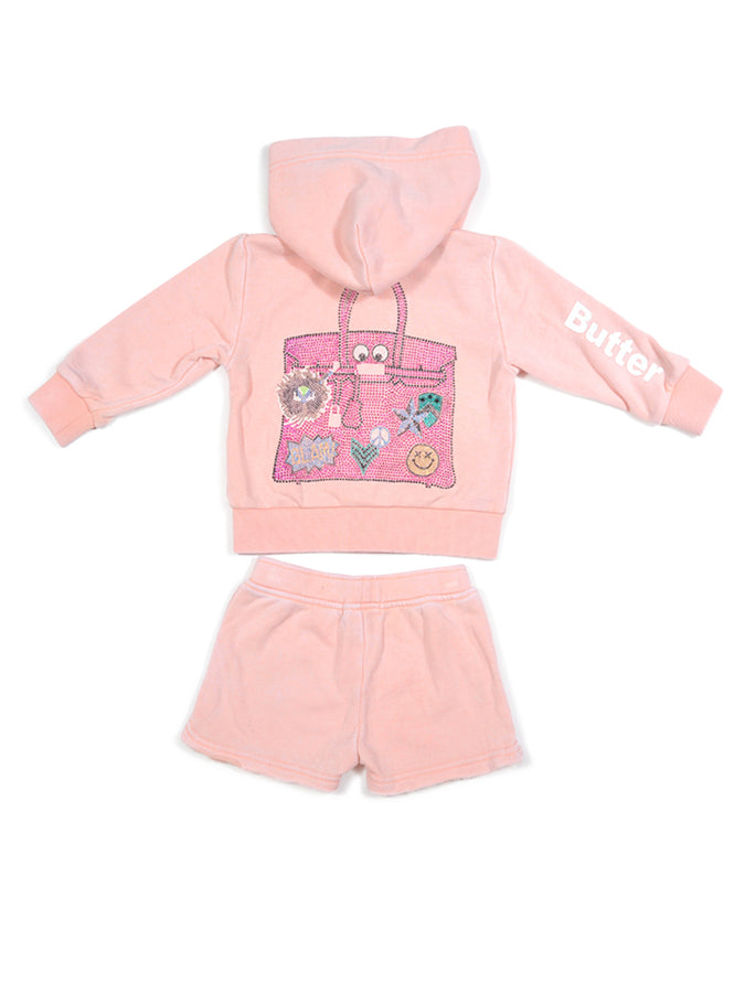 Girls Peach Nectar Birkin Bag Glitter Print Burnout Hoodie And Shorts