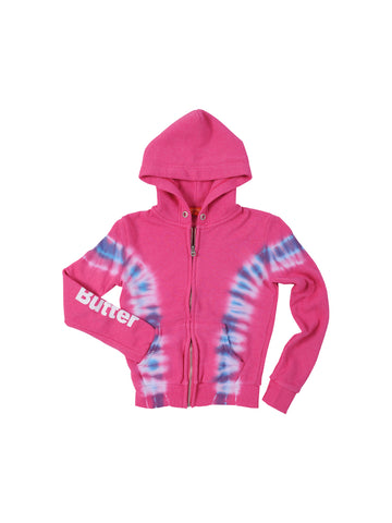 Girls Pink/Blue Girls Solid Hendrix Wash Fleece Zip Hoodie 4 Alternate View