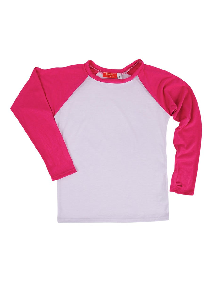 Girls Pink/White Solid LS Raglan Tee