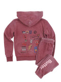 Girls Pomegranite Collage Burnout Fleece Zip Hoodie 4
