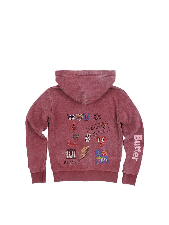 Girls Pomegranite Collage Burnout Fleece Zip Hoodie