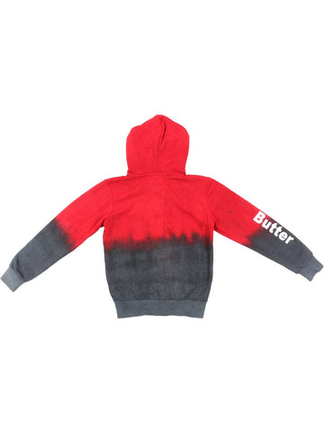 Girls Red/Charcoal Solid Dip Dye Hoodie