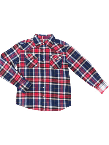 Girls Red/blue Emoji Life LS Flannel Shirt