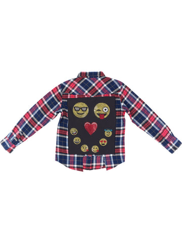Girls Red/blue Emoji Life LS Flannel Shirt 4 Alternate View