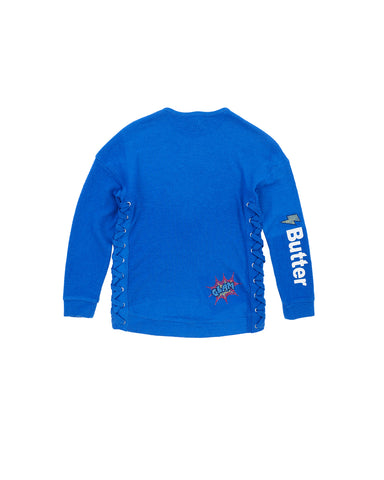 Girls Turkish Sea Super Hero Hamptons Fleece Pullover 2 Alternate View