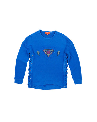 Girls Turkish Sea Super Hero Hamptons Fleece Pullover