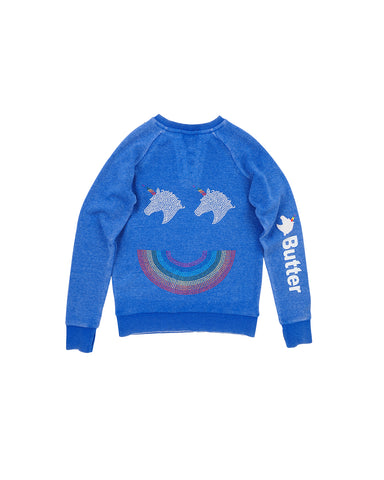 Girls Turkish Sea Unicorn Smile Burnout Fleece Laceup Pullover