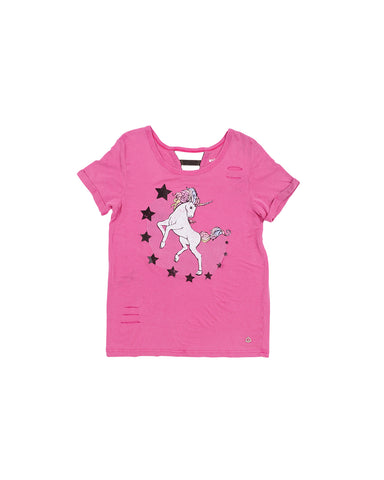 Girls Very Berry  Unicorn Mineral Wash Drapey Jersey T-Shirt