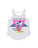 Girls White Beach Party Lace Back Graphic Tank