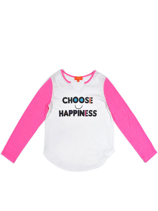 Girls White Choose Happiness Burnout Raglan Tee