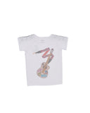 Girls White Guitar Heathered Jersey T-Shirt 2