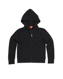 Kids Black Solid Fleece Zip Hoodie 2