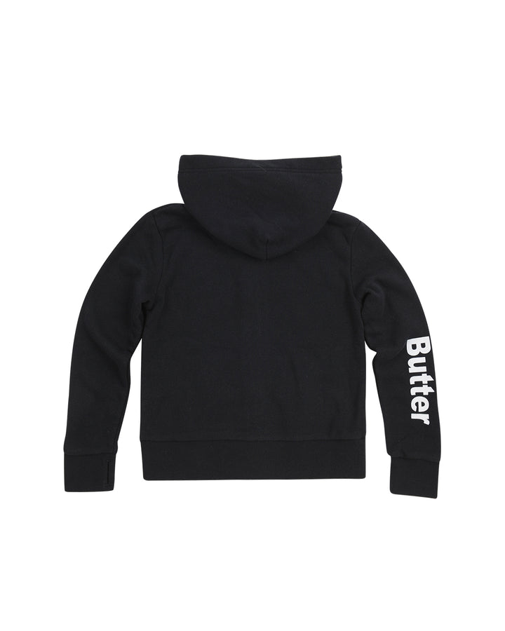Kids Black Solid Fleece Zip Hoodie