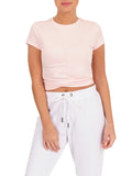 Womens Bashful Crew Neck Twist Front Crop Top