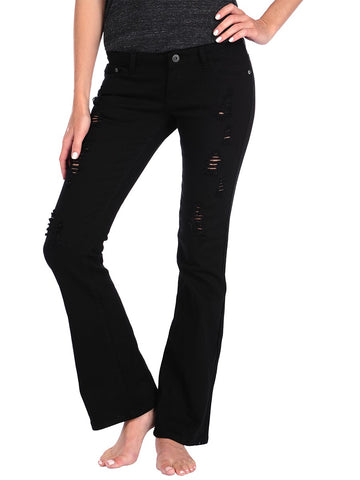 Womens Black Ripped Bootcut