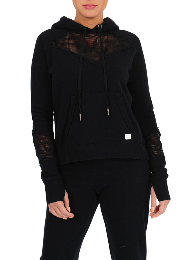 Womens Black Pullover Hoodie with Mesh Insets