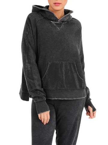 Womens Black Blinged Out Pullover Hoodie