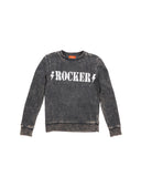 Womens Black Rocker Mineral Wash Fleece Pullover 2