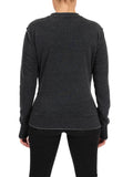 Womens Black Tiger Eye Crewneck Pullover 2