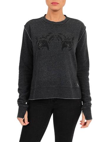 Womens Black Tiger Eye Crewneck Pullover