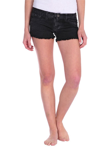 Womens Black Denim Oil Short
