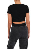 Womens Black Crew Neck Twist Front Crop Top 2