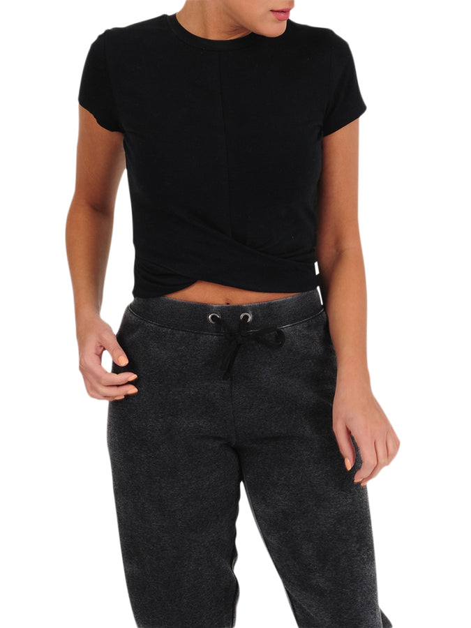 Womens Black Crew Neck Twist Front Crop Top
