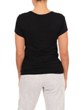 Womens Black Scoop Neck T-Shirt 2